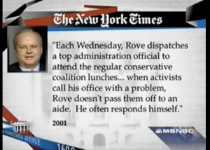 Rove Sends Administration Official to Conservative Wednesday Meetings