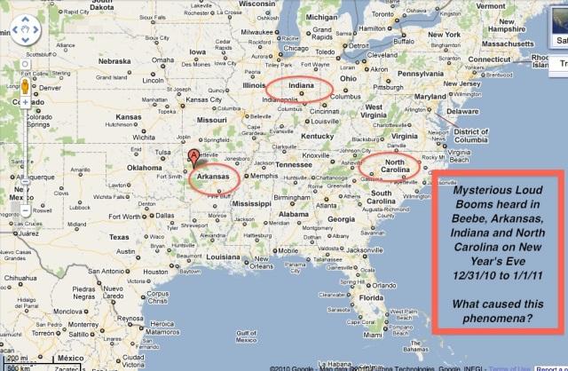 Booms heard in Arkansas, Indiana and North Carolina 12_31_10 and 1_1_11