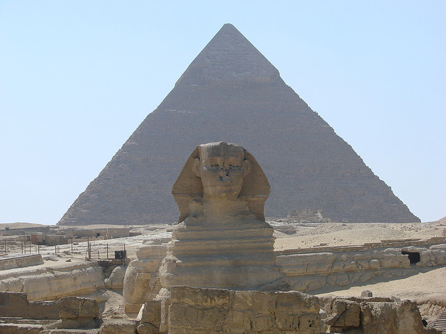 Sphinx and Pyramid by watchsmart on flickr cc
